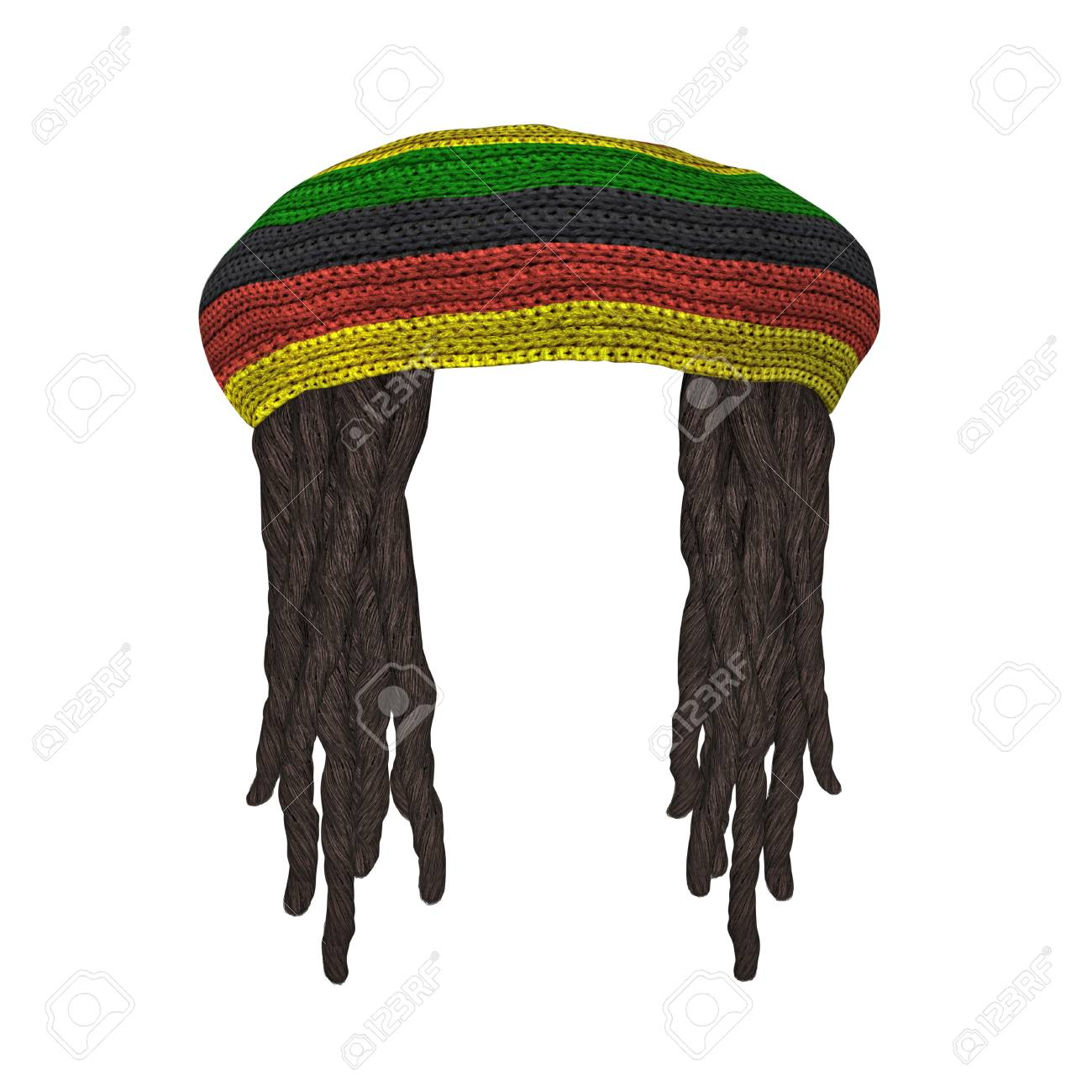 4d07f343413 Rastafarians hat with dreadlocks isolated on white. 3D rendering Stock  Photo - 91624771