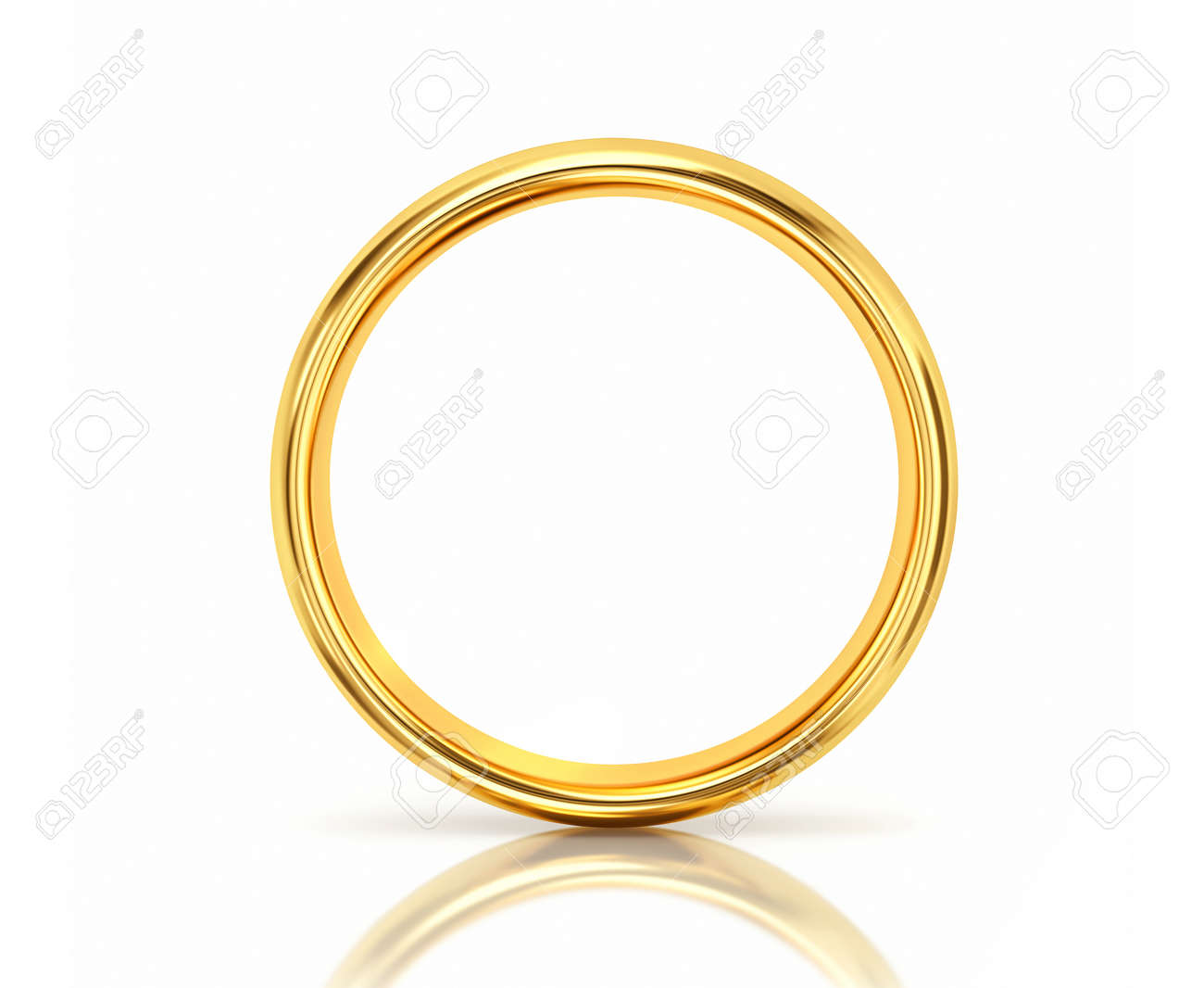 Golden ring with reflection isolated on white background. 3D rendering - 156609876