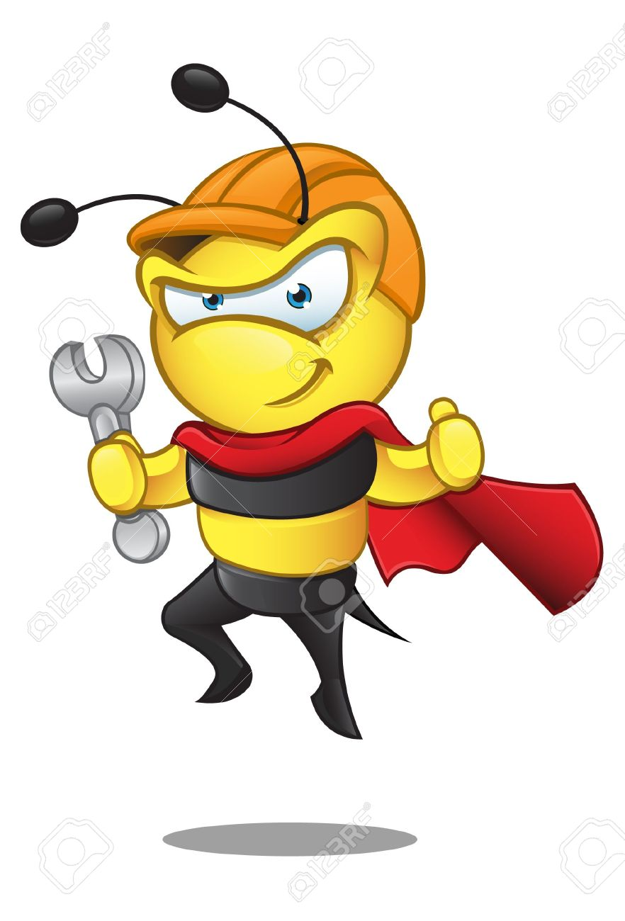 A  illustration of a superhero bee in a hard hat holding a spanner. Stock Vector - 15330306