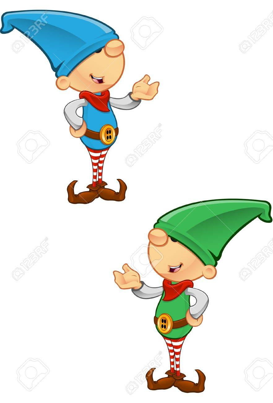 Two different colored vector illustrations of elves presenting. Stock Vector - 16235776