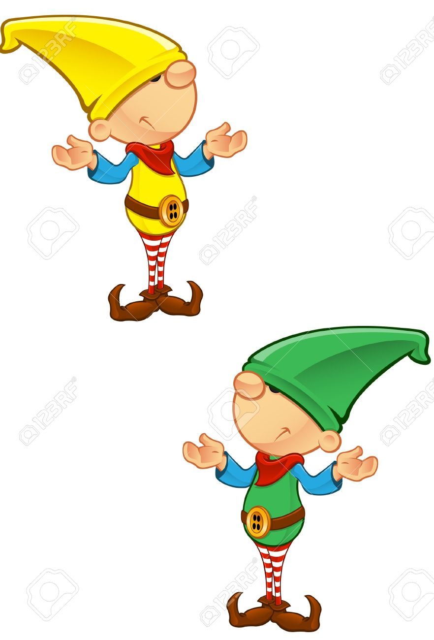 a vector illustration of an elf looking confused royalty free