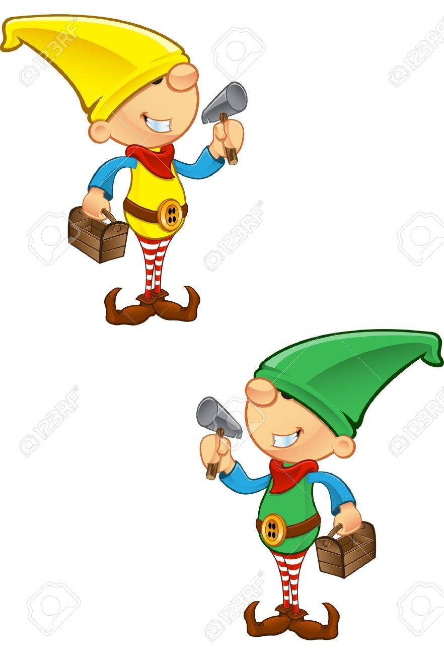 A vector illustration of an Elf holding a hammer and toolbox. Stock Vector - 16235792