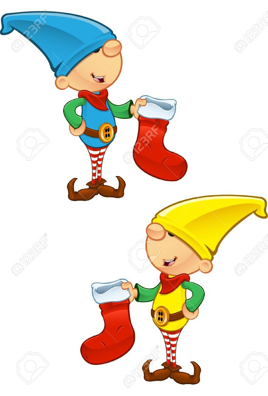 A vector illustration of an Elf holding a Stocking. Stock Vector - 16235785