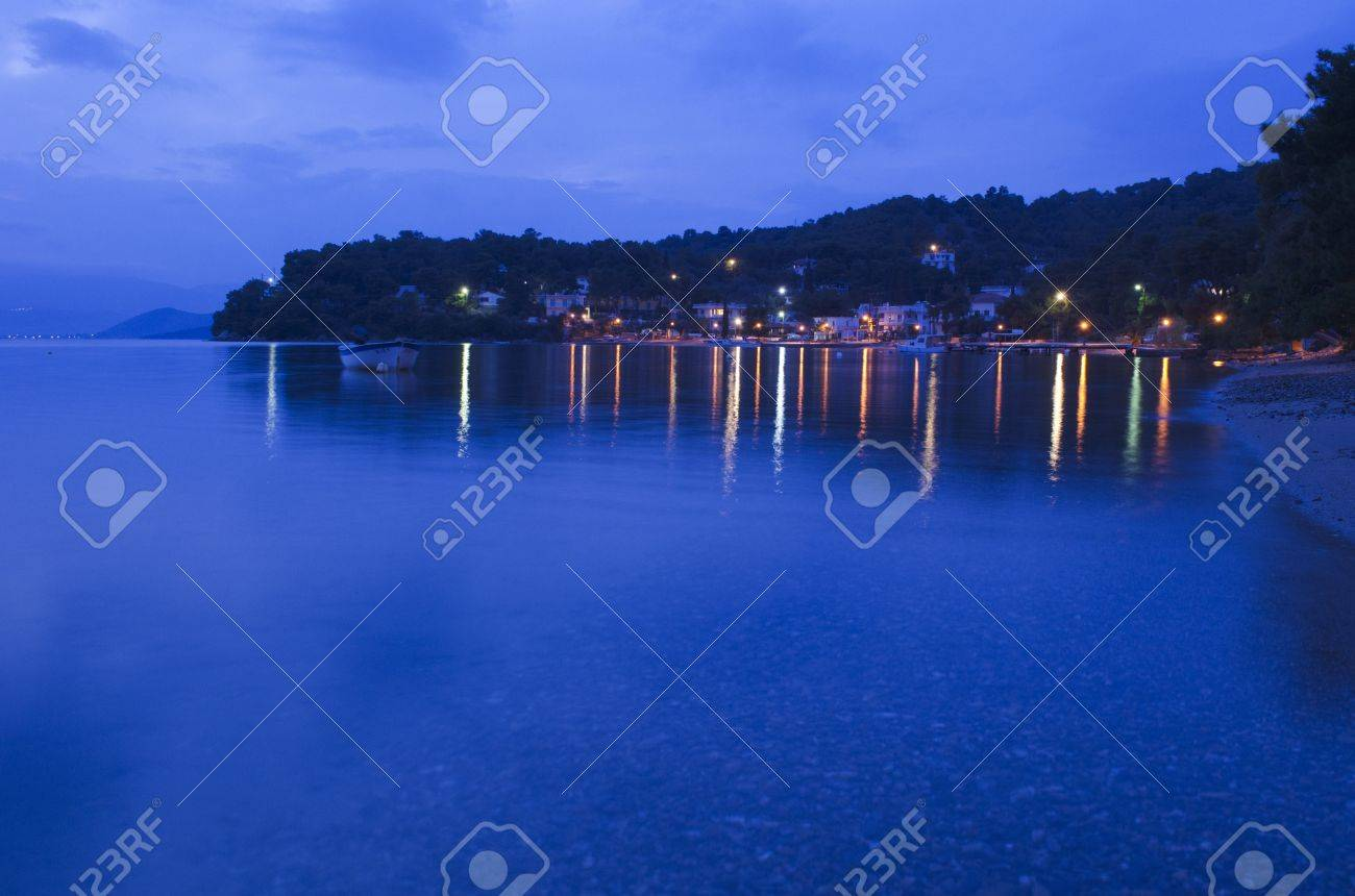 Blue hour shot of the Neorion Bay at Poros in greece. Stock Photo - 17759844