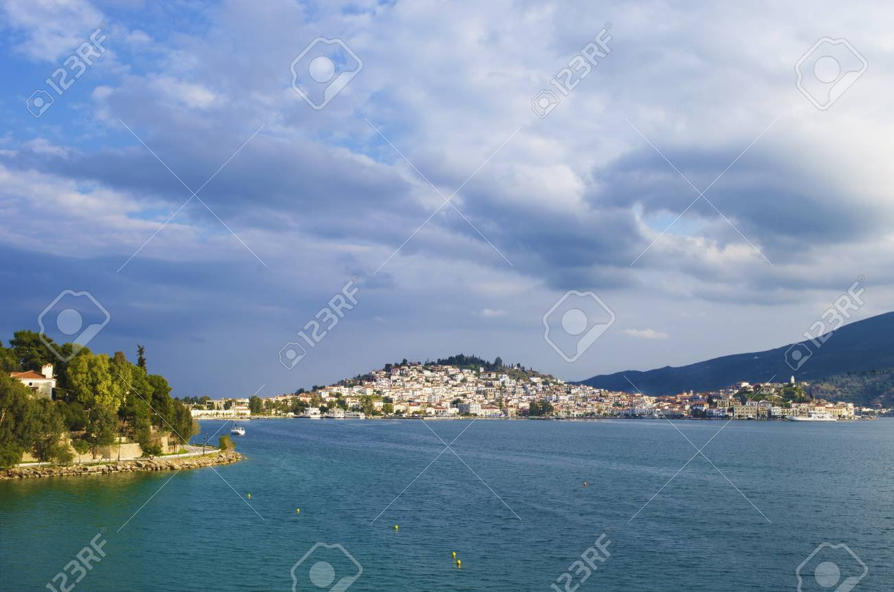 The city of Poros in Greece as seen when approaching with the ferry from Athens Stock Photo - 17859511