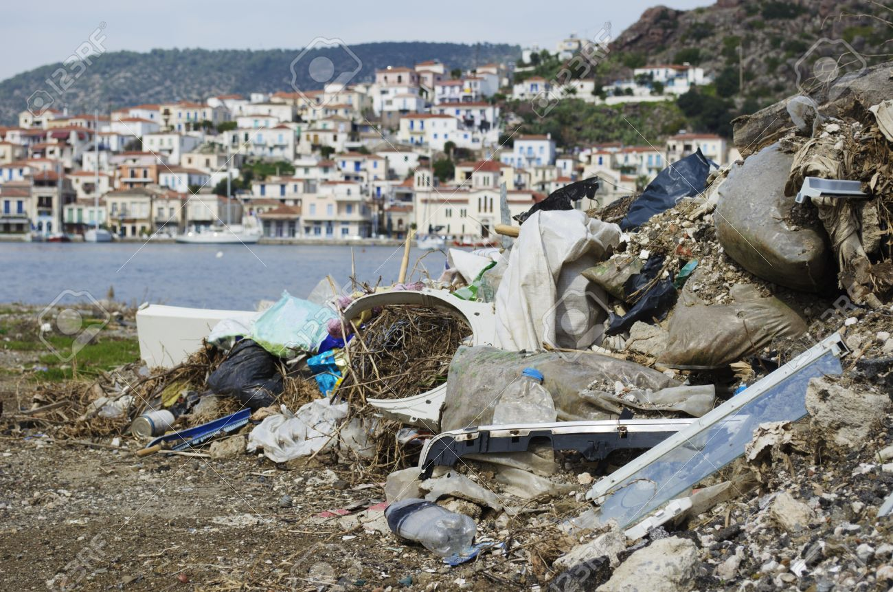 A big pile of rubbish in a tourist paradise on the Greek islands Stock Photo - 17859519