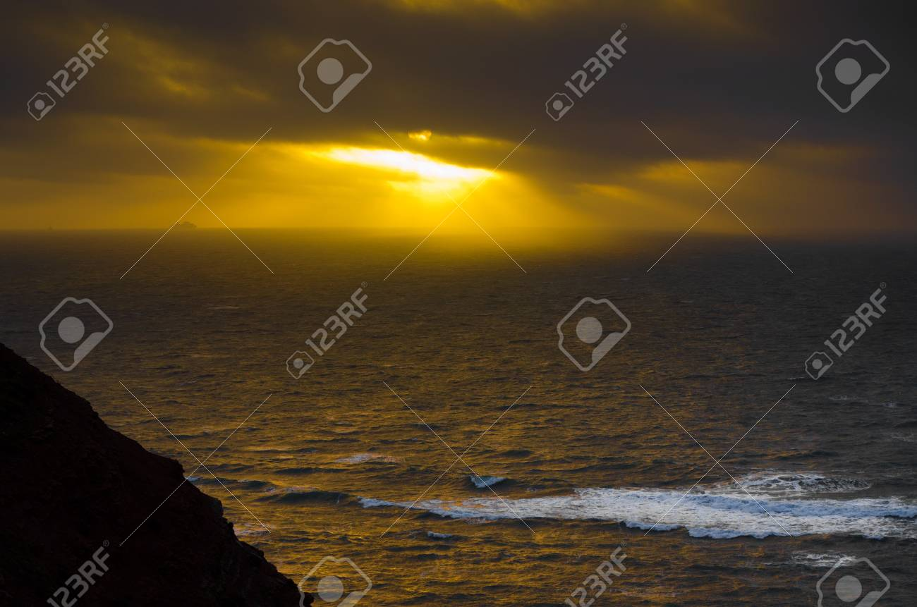 Light breaks through the clouds over the North Sea, seen from Helgoland, Germany Stock Photo - 17859510