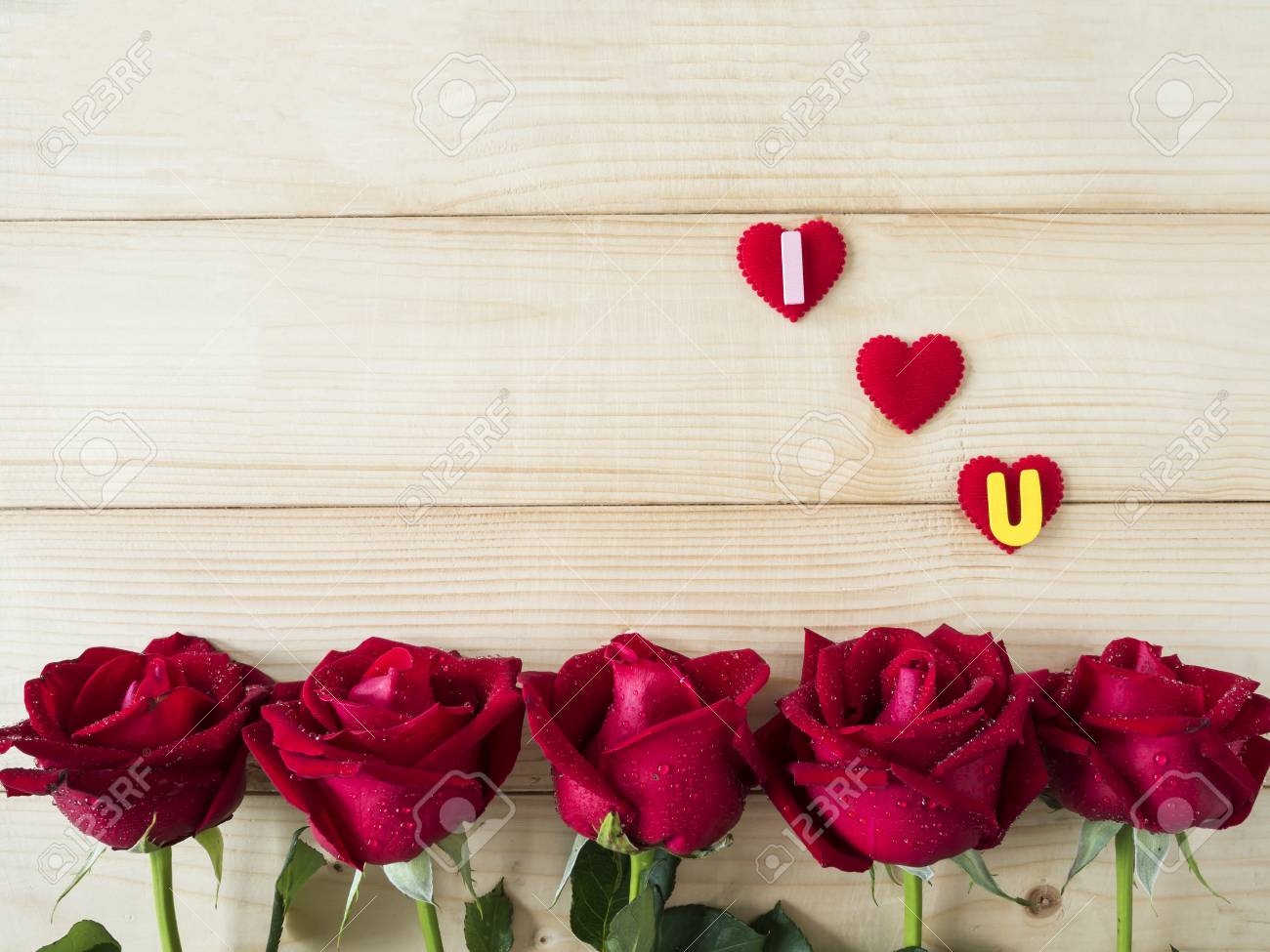 Red Rose Flower And Word I Love You On Wood Background Love