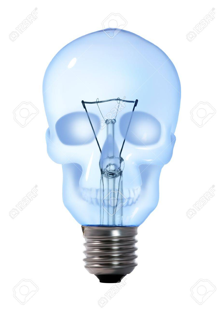 Skull Tungsten Light Bulb Lamp On White Background Stock Photo   11033535