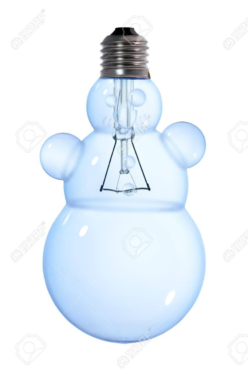 snowman tungsten light bulb lamp on white background Stock Photo - 11033866