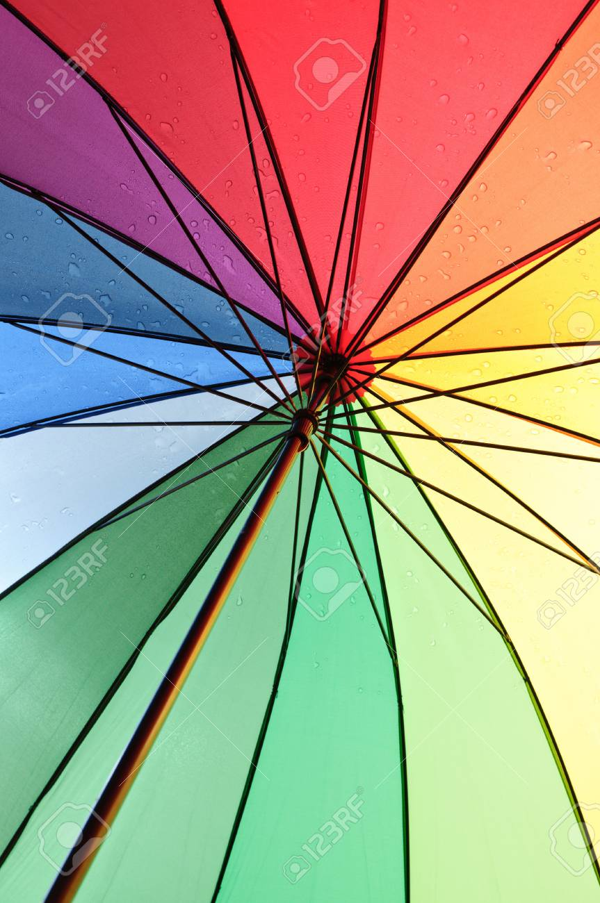 Under An Color Umbrella With Rain Drops Stock Photo, Picture And ...