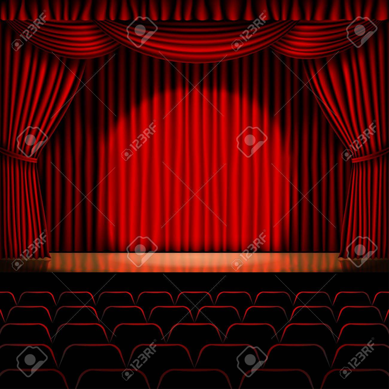 Stage With Red Curtain Background Stock Vector
