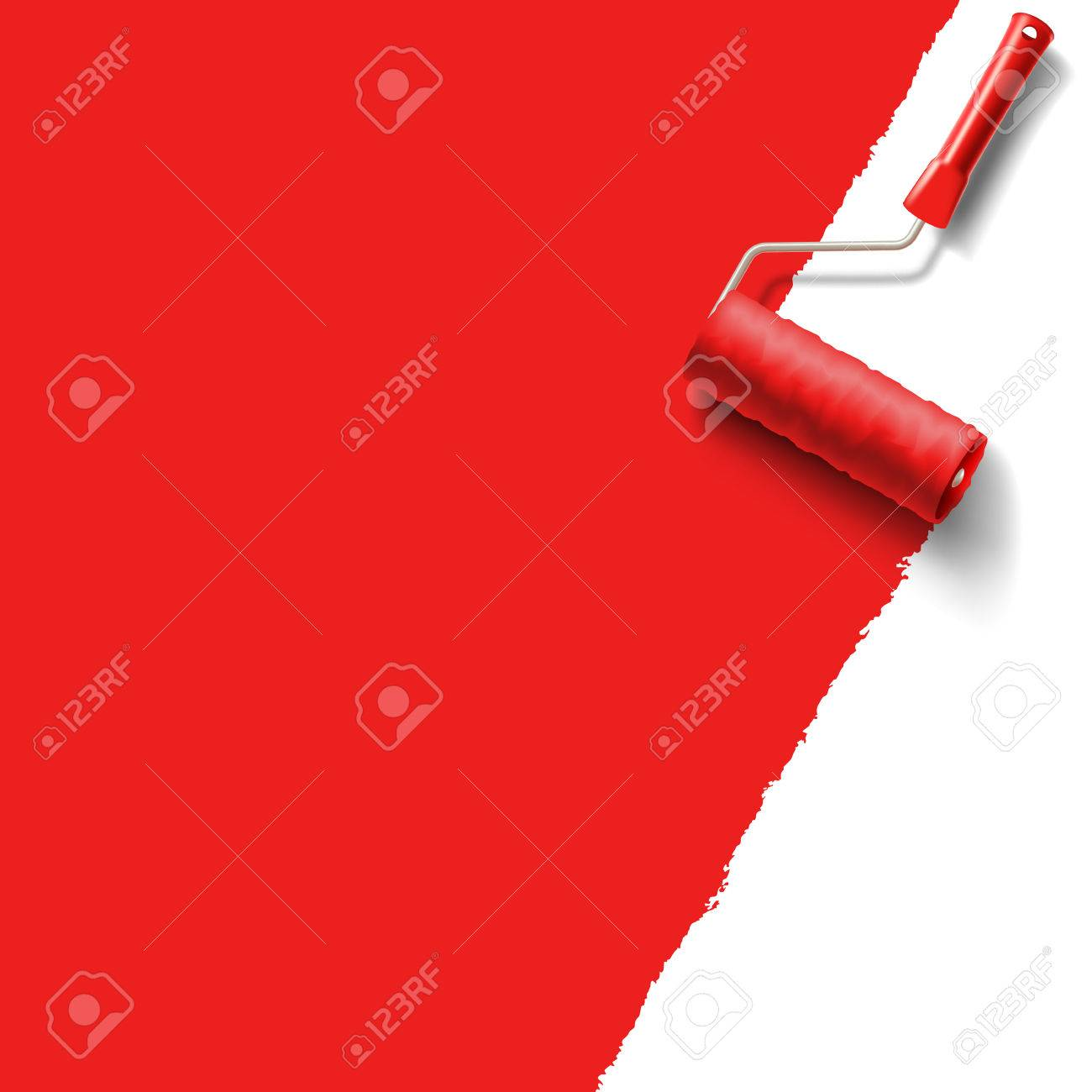 roller brush with red paint - 29687214