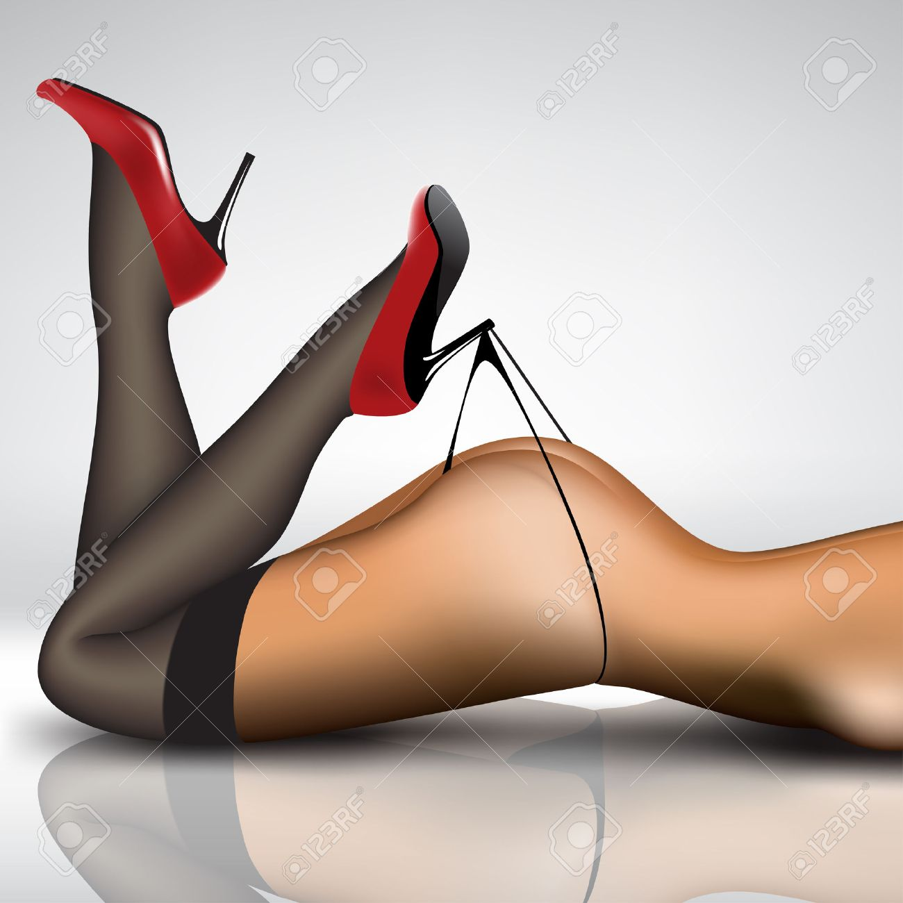 pin-up women's legs in stockings and shoes royalty free cliparts