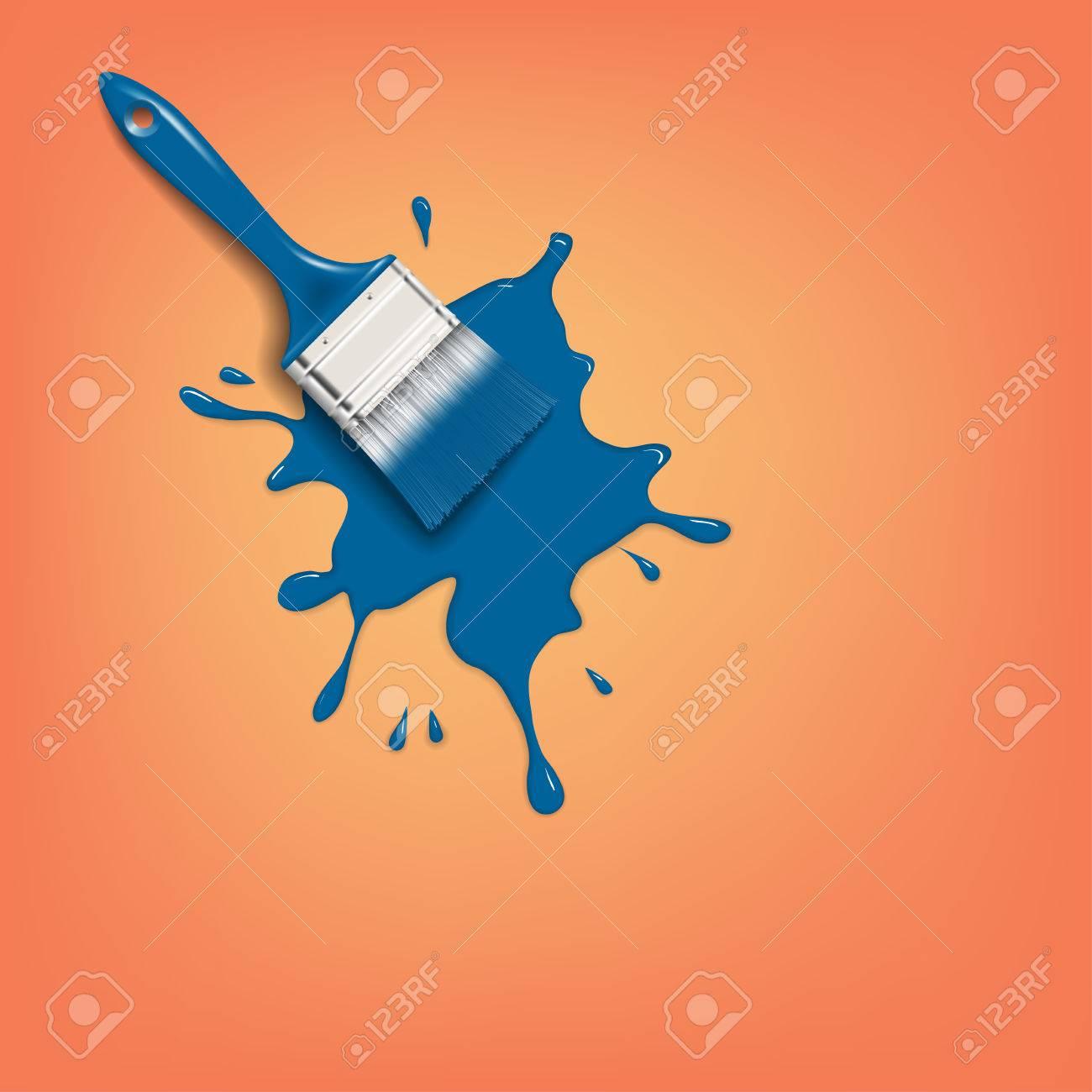 Kwast met blauwe verf splash op de oranje muur royalty vrije ...