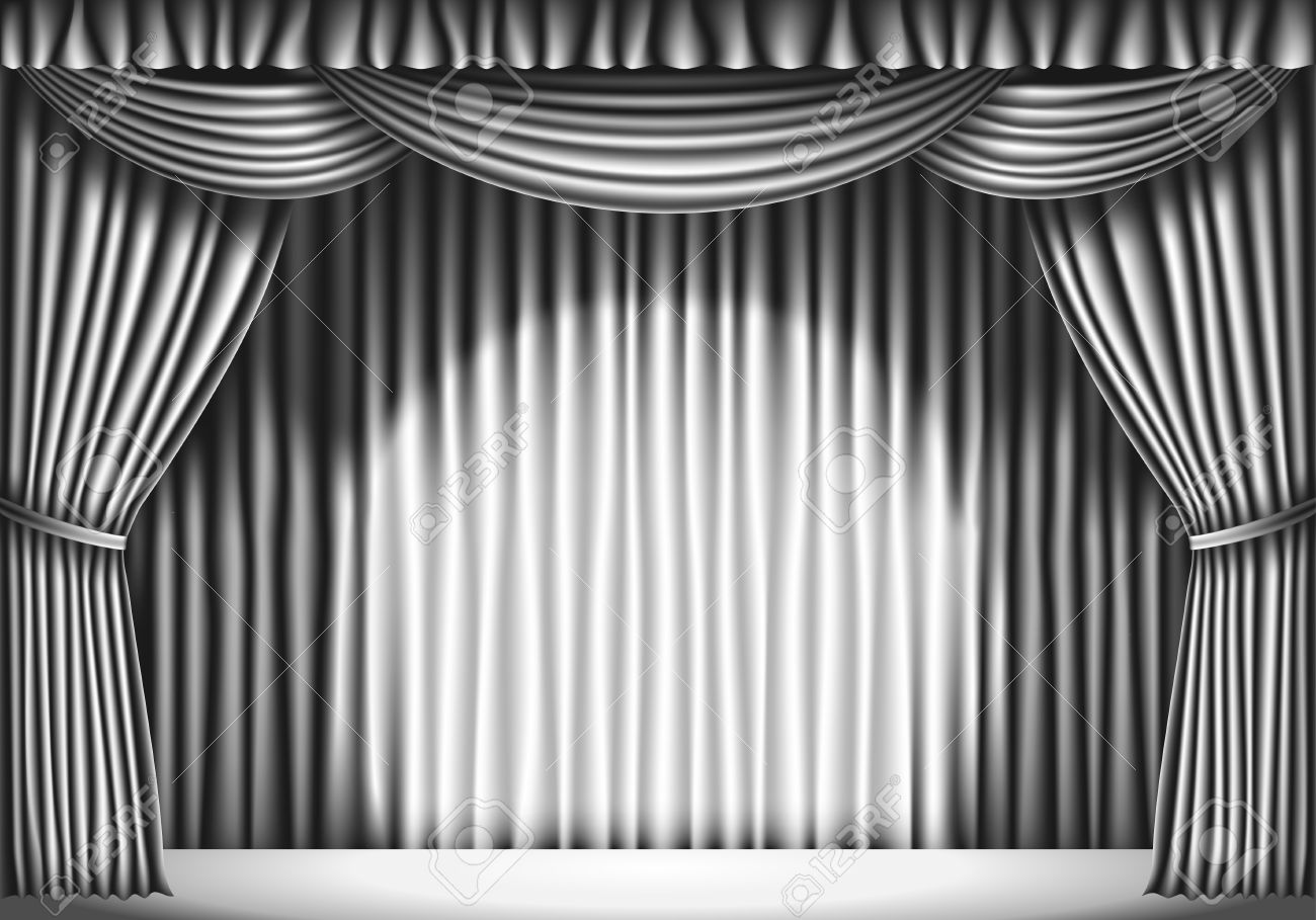 Stage With White Curtain. Black And White Retro Illustration Stock Vector    43403203