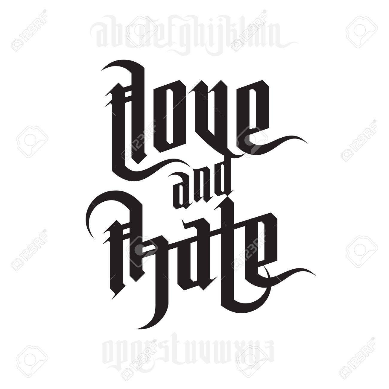 Amour et la haine lettrage modern style font gothique lettres modern style font gothique lettres gothiques avec des lments thecheapjerseys Choice Image