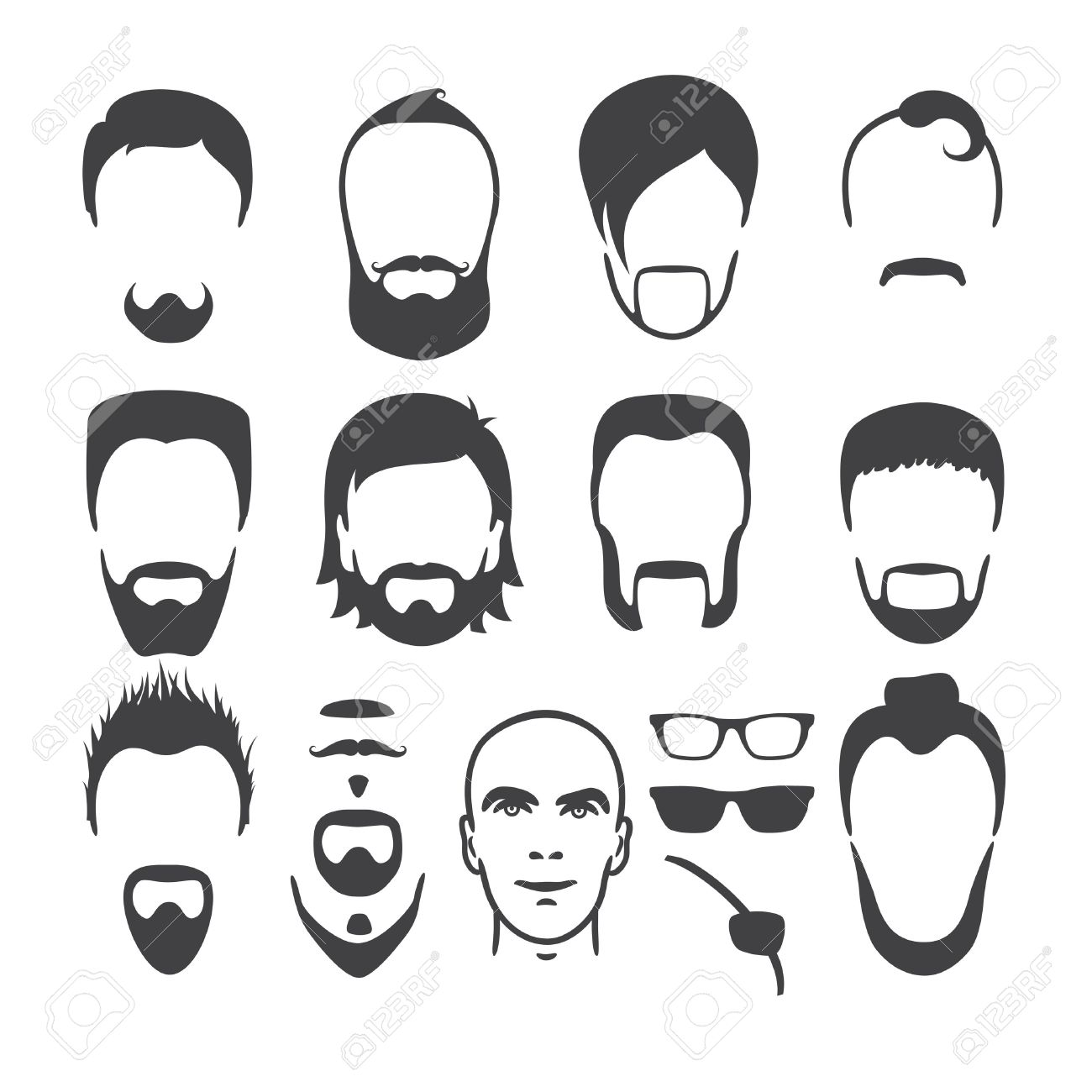 Marvelous Set Of Close Up Different Hair Beard And Mustache Style Men Short Hairstyles For Black Women Fulllsitofus