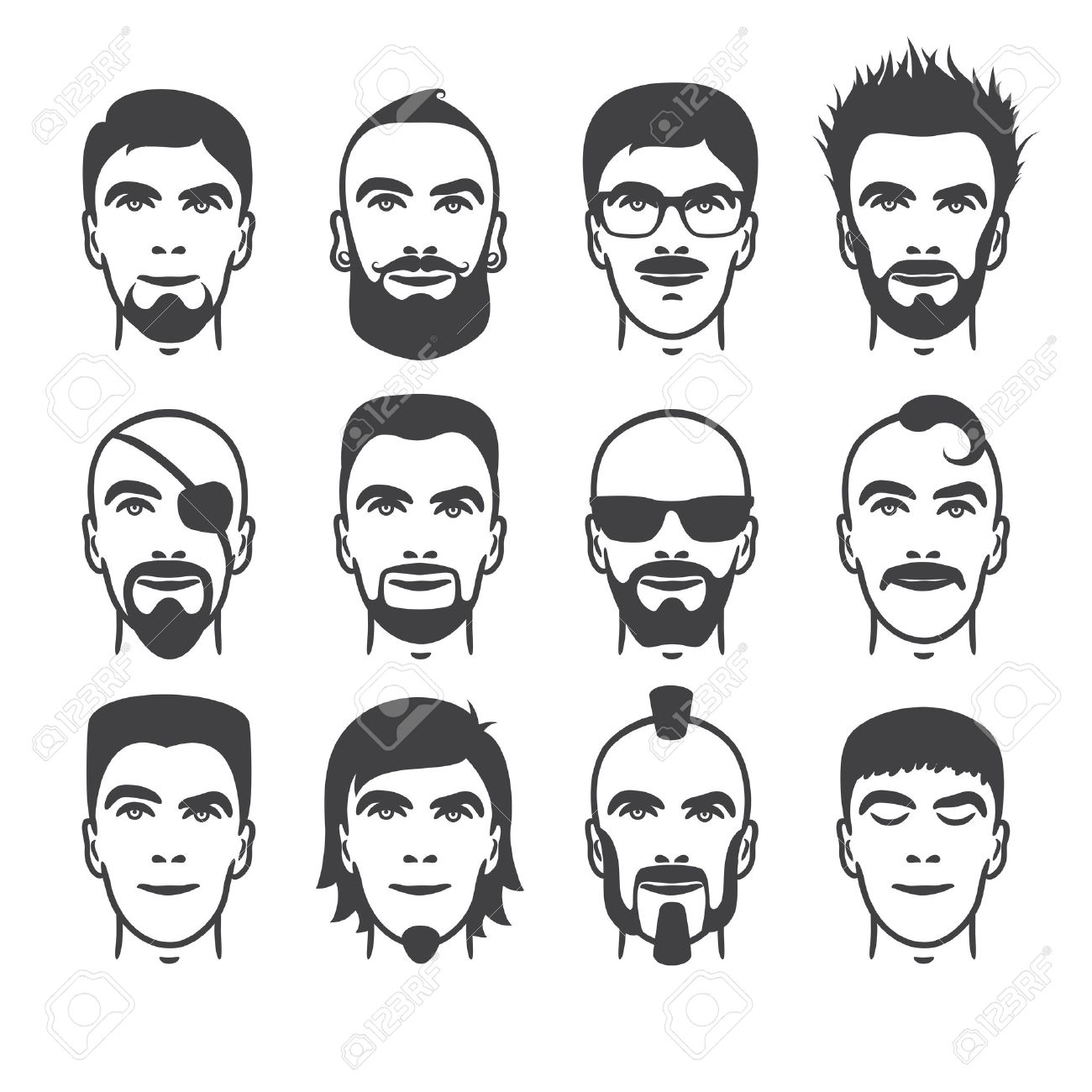 Admirable Set Of Close Up Different Hair Beard And Mustache Style Men Short Hairstyles Gunalazisus