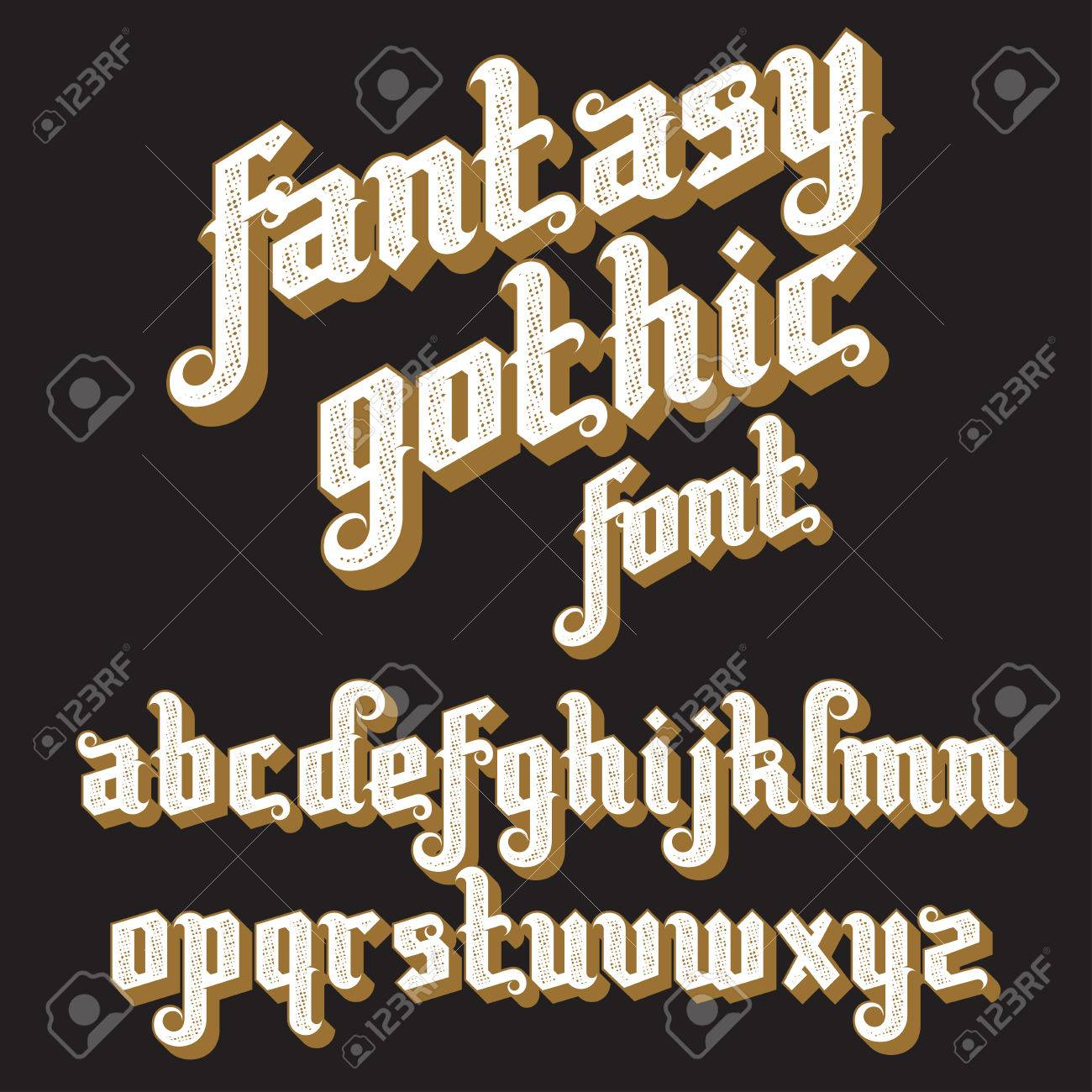 Fantasy Gothic Font Retro Vintage Alphabet Custom Type Letters On A Dark Background