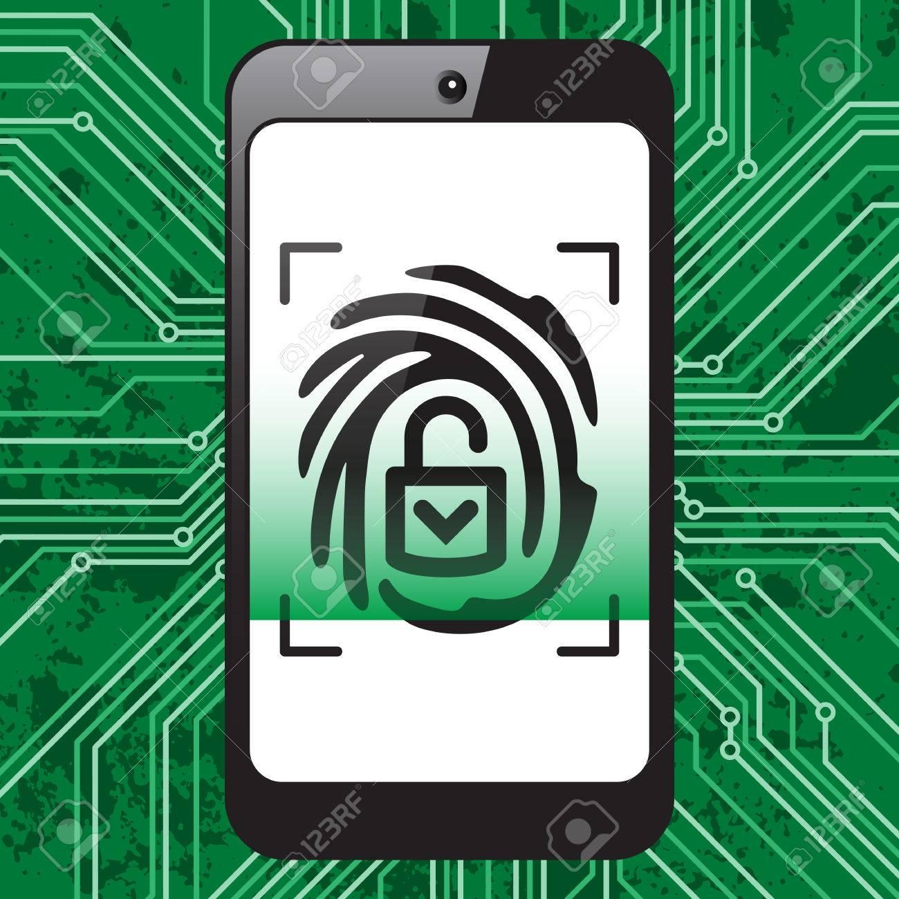 Smartphone In Hand Mit Schwarzer Fingerdruck Auf Weißem Bildschirm ...