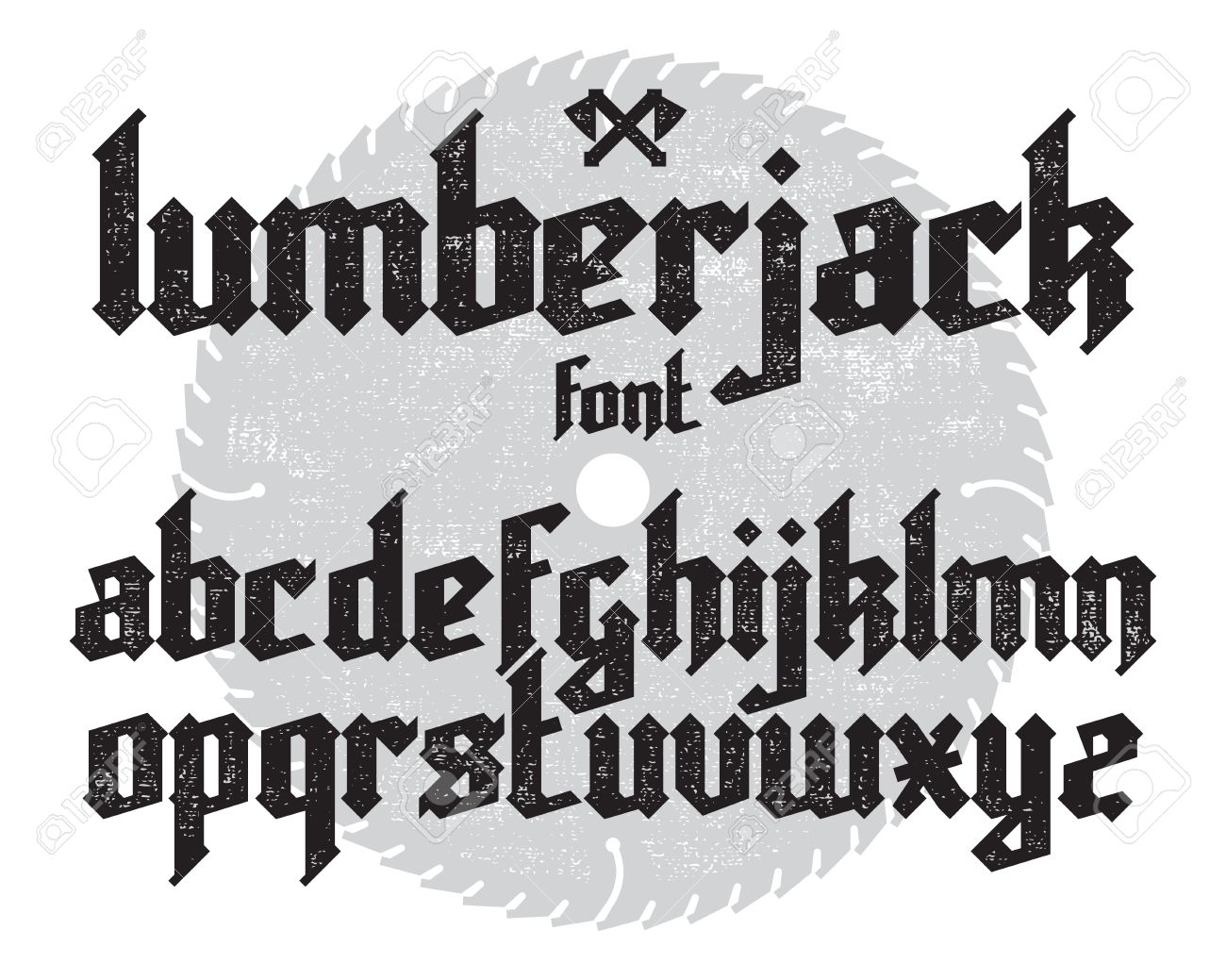 Lumberjack New Modern Custom Gothic Alphabet Font Black Set On Saw And Canvas Background