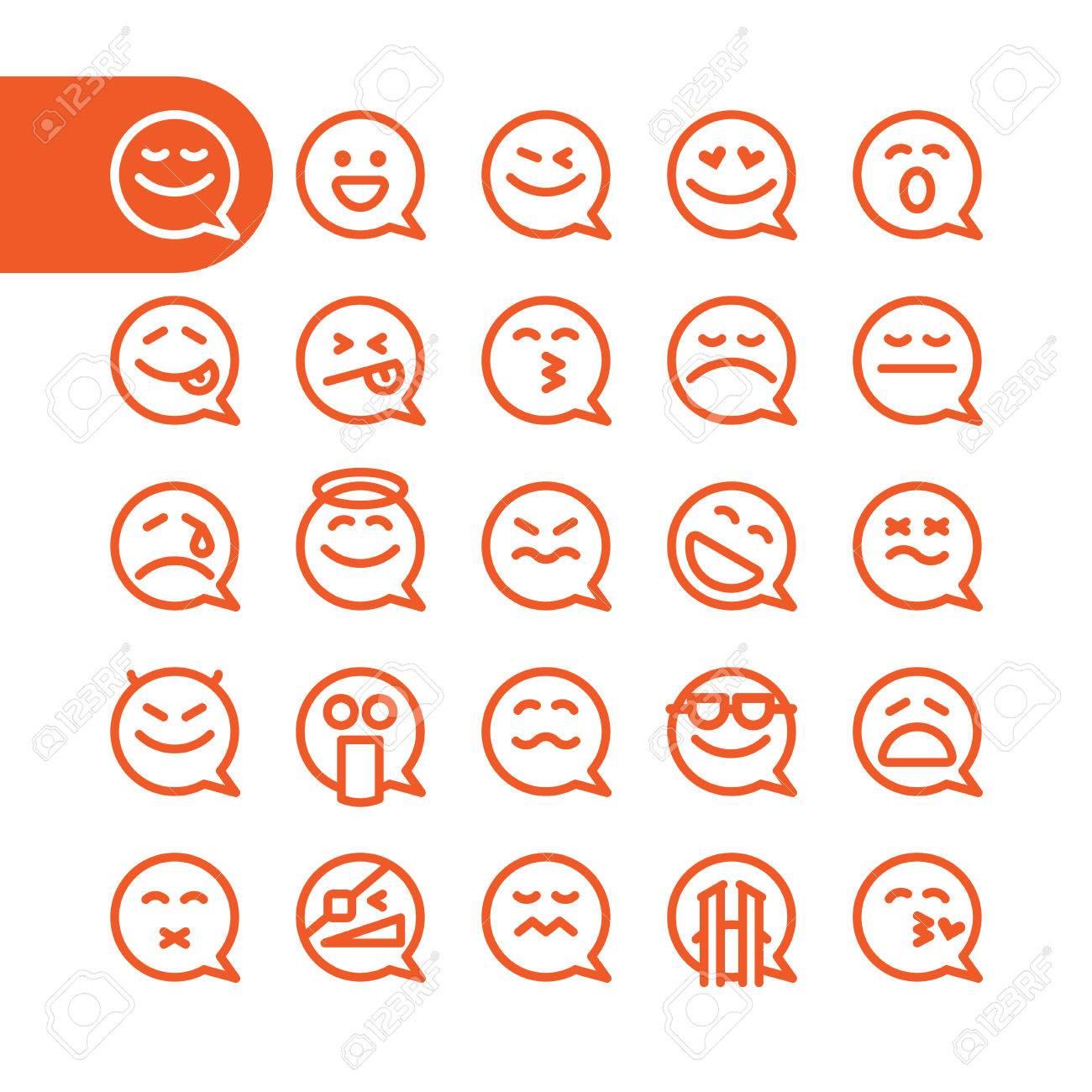 Fat Line Icon Set of speech bubble emoticons for web and mobile. Modern minimalistic flat design elements of speech bubble emoji isolated on white background, vector illustration. - 53202248
