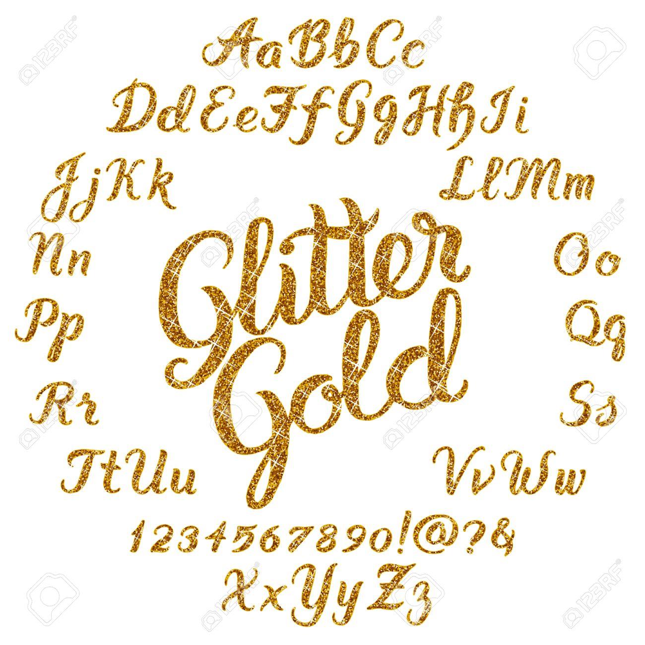 Handwritten glitter gold alphabet vector font hand drawn brush handwritten glitter gold alphabet vector font hand drawn brush script letters on black background altavistaventures Gallery