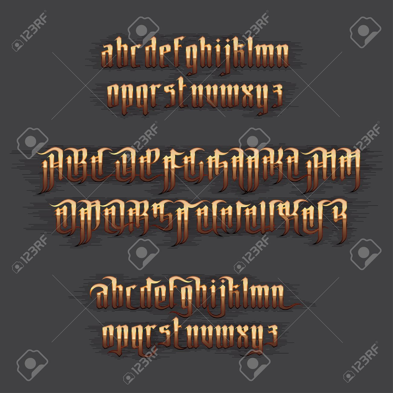 Modern Gothic Style Font Gold Letters With Decoration Elements Stock Vector