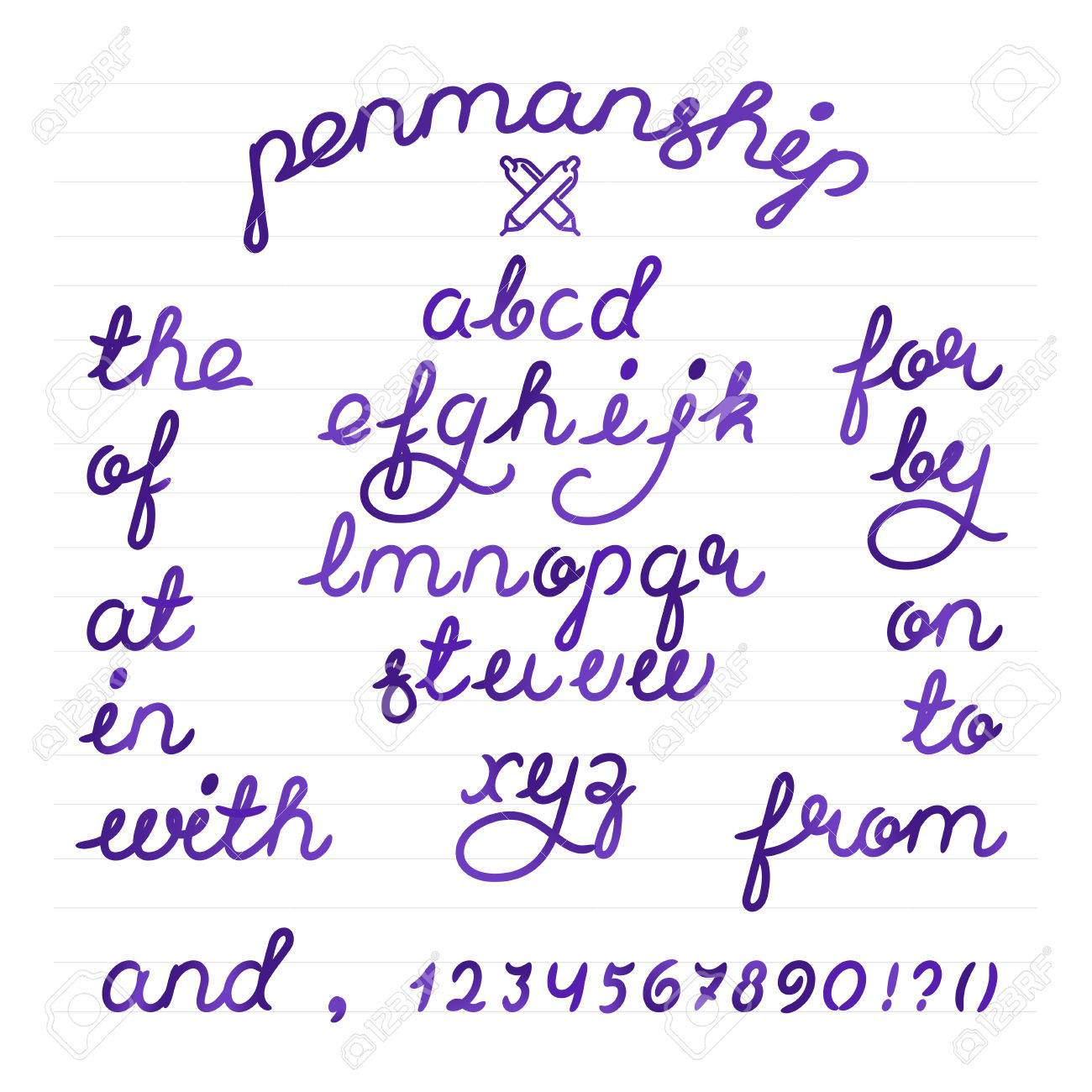 penmanship alphabet font letters and digits. Brush script letters and catchwords the, and,