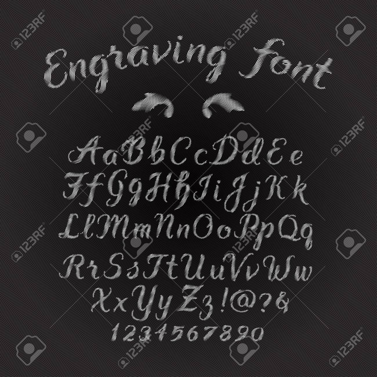 Engraving handwritten alphabet retro font. Hand drawn brush script letters and symbols. Stock lettering