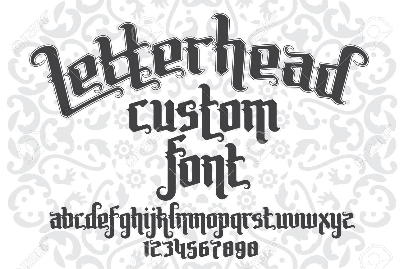 Letterhead Custom Font On Round Pattern Background Gothic Type Letters And Numbers Stock Vector