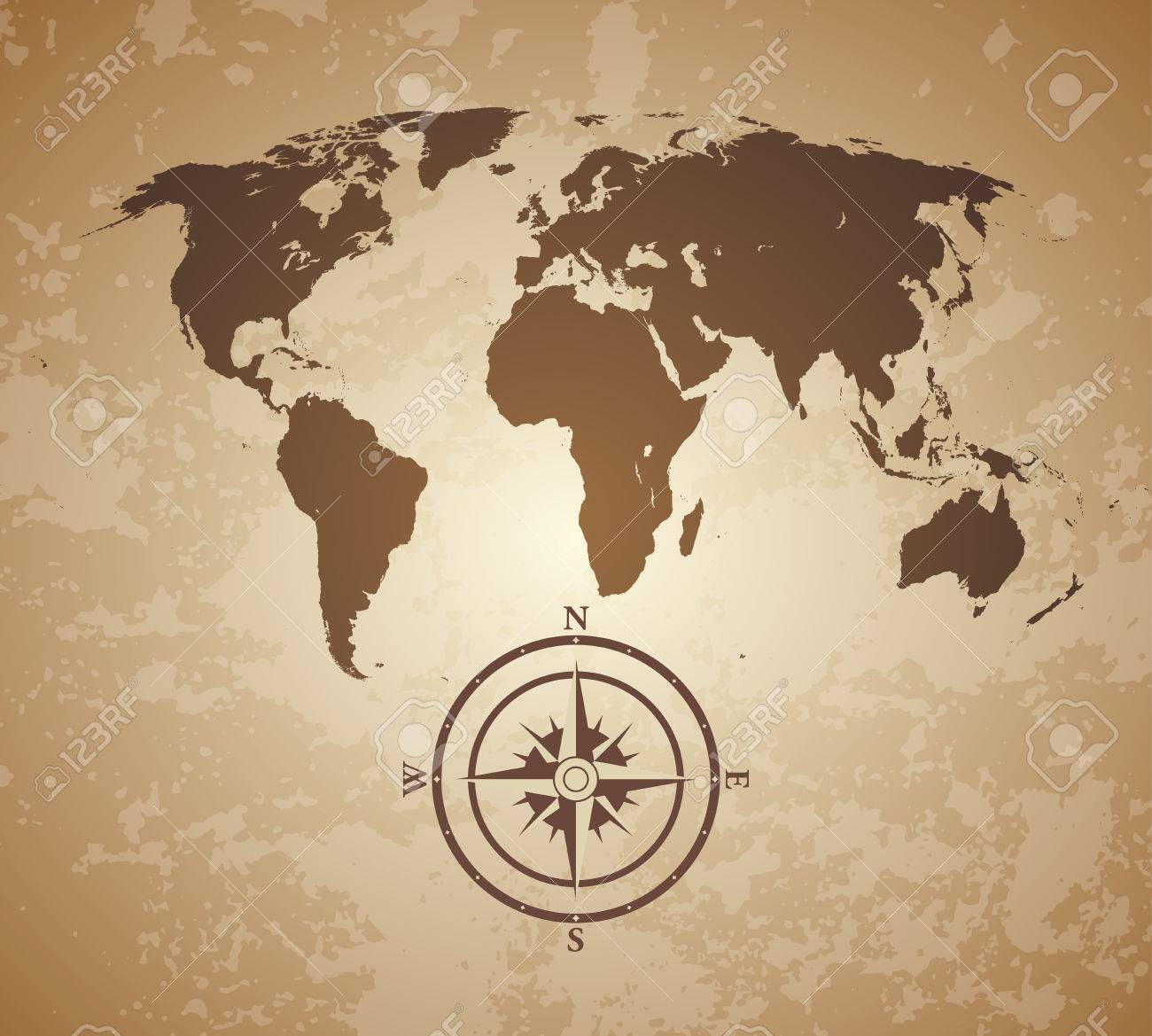 World Map Old Style.Vintage Old Style World Map With Compas Royalty Free Cliparts