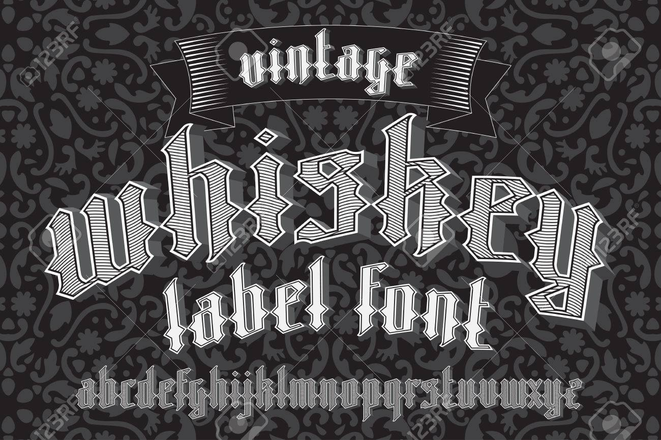 Whiskey label font and sample design with decoration and ribbon