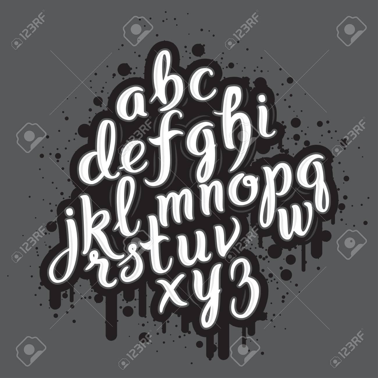 Handdrawn Graffiti Alphabet Brush Pen Letters Handwritten Script Font Hand Lettering Custom Typography