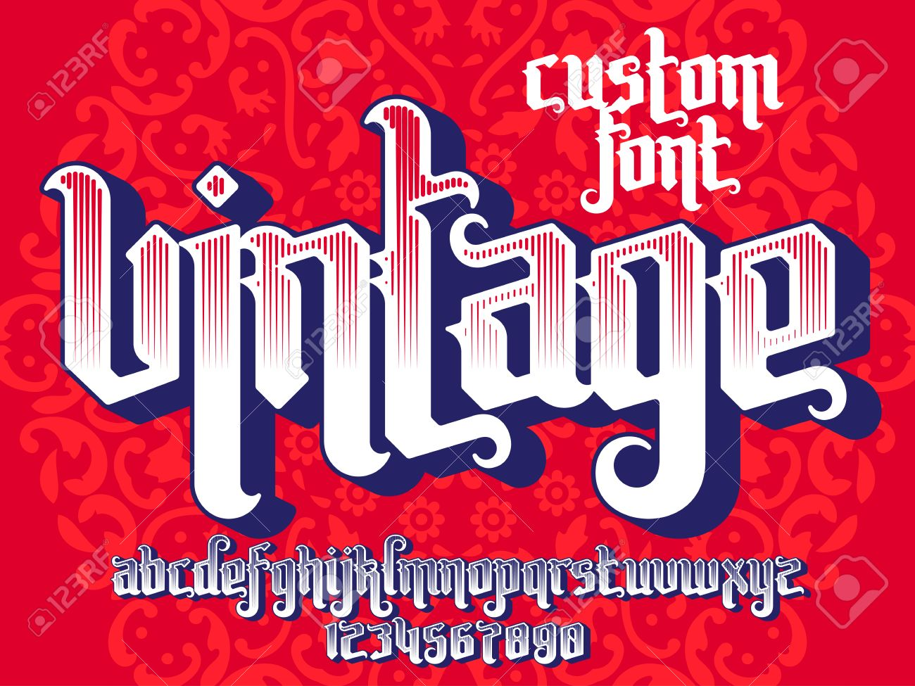 Vintage Custom Font On Round Pattern Background Gothic Type