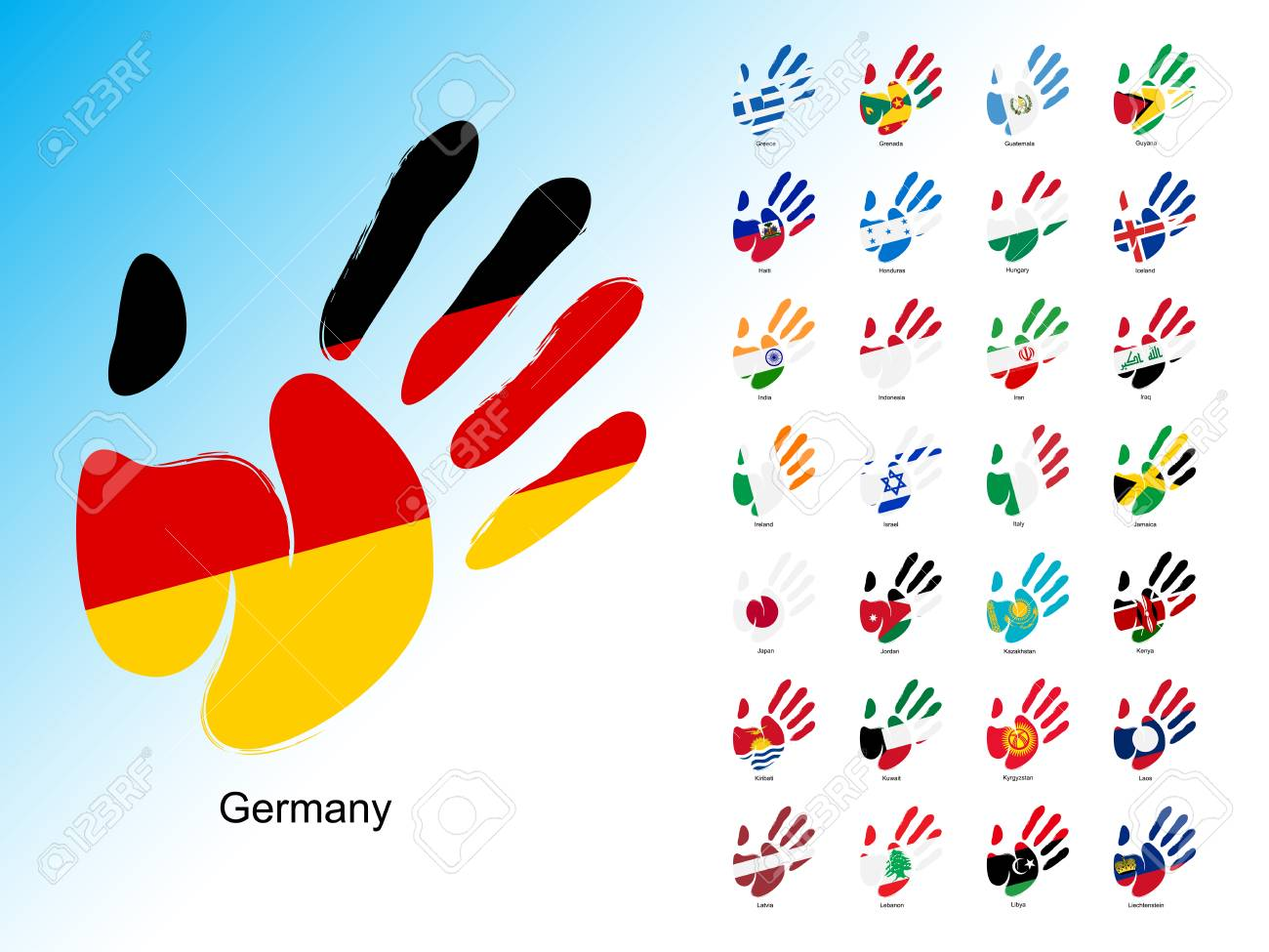 Open Human Handprint With National Flag Inside Set Of Palm With