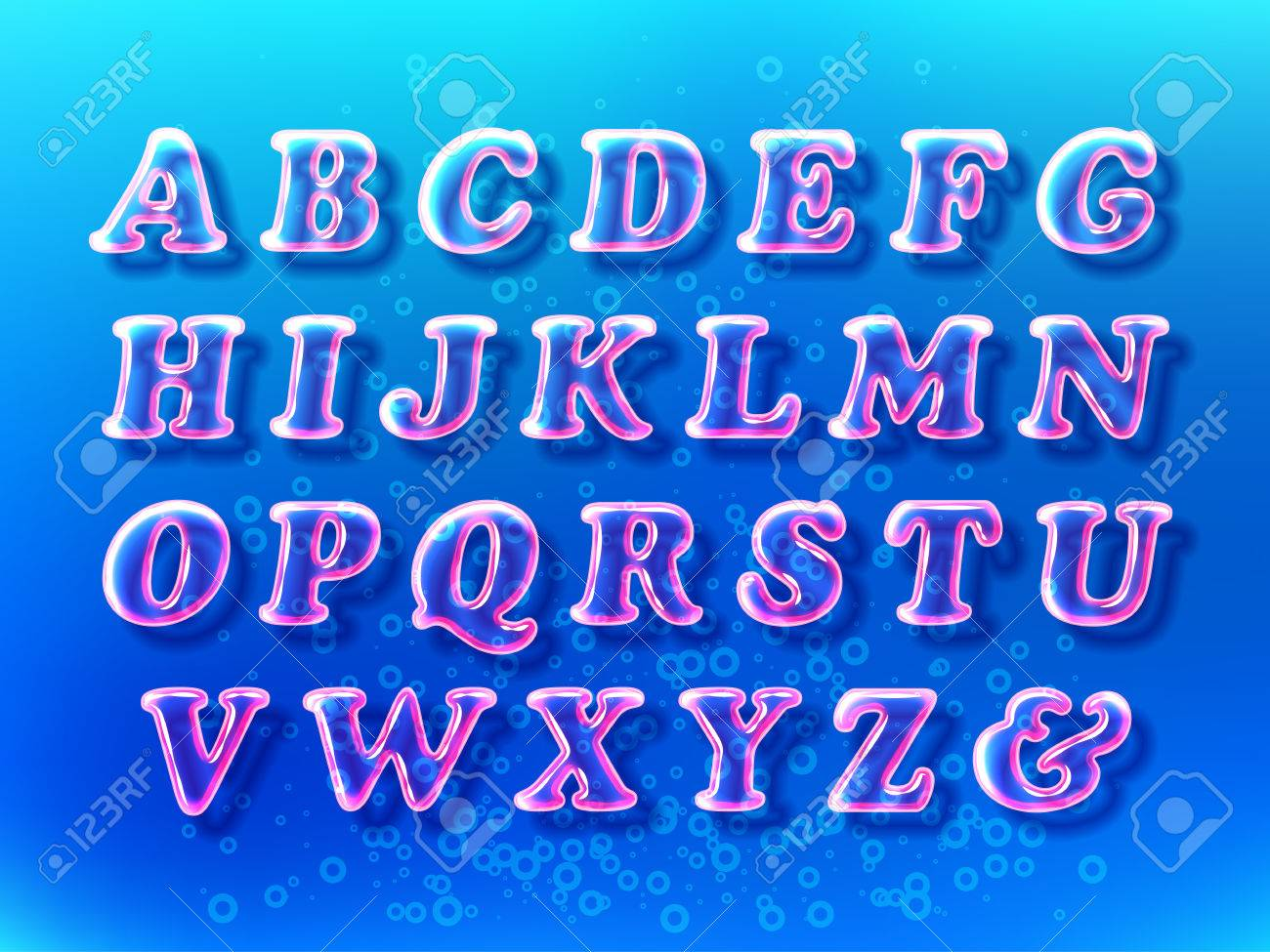 Air bubble alphabet font with transparency and shadows on the blue water background. 3D bulb
