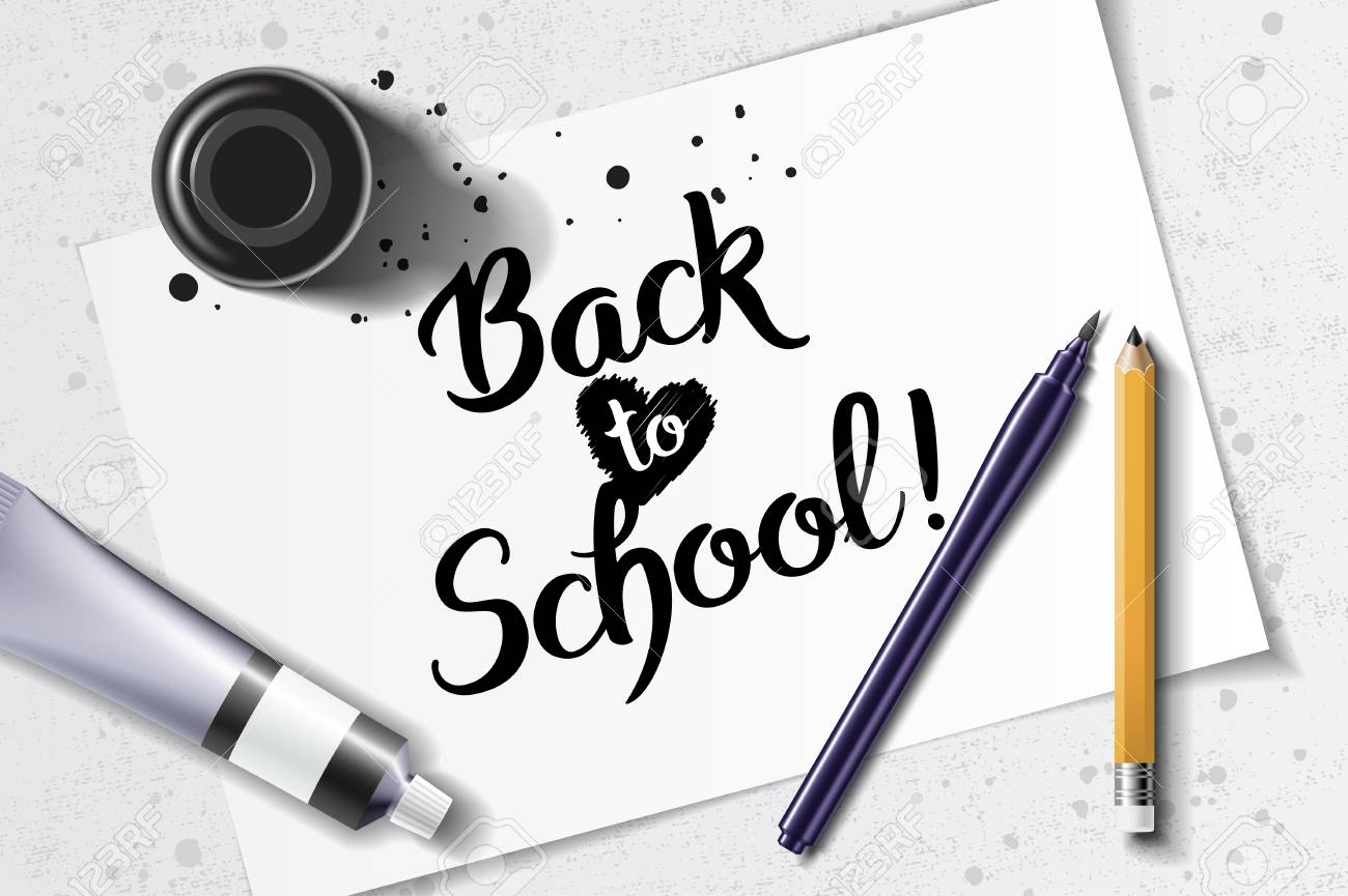 Welcome back to school handdrawn lettering with calligraphy mockup