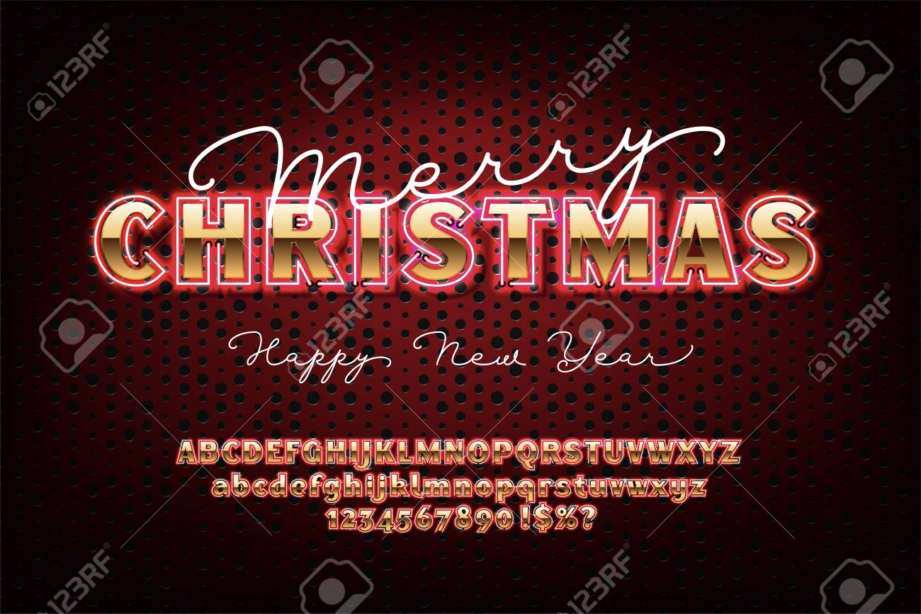 2019 happy new year invitation golden christmas font with neon bold sans serif alphabet