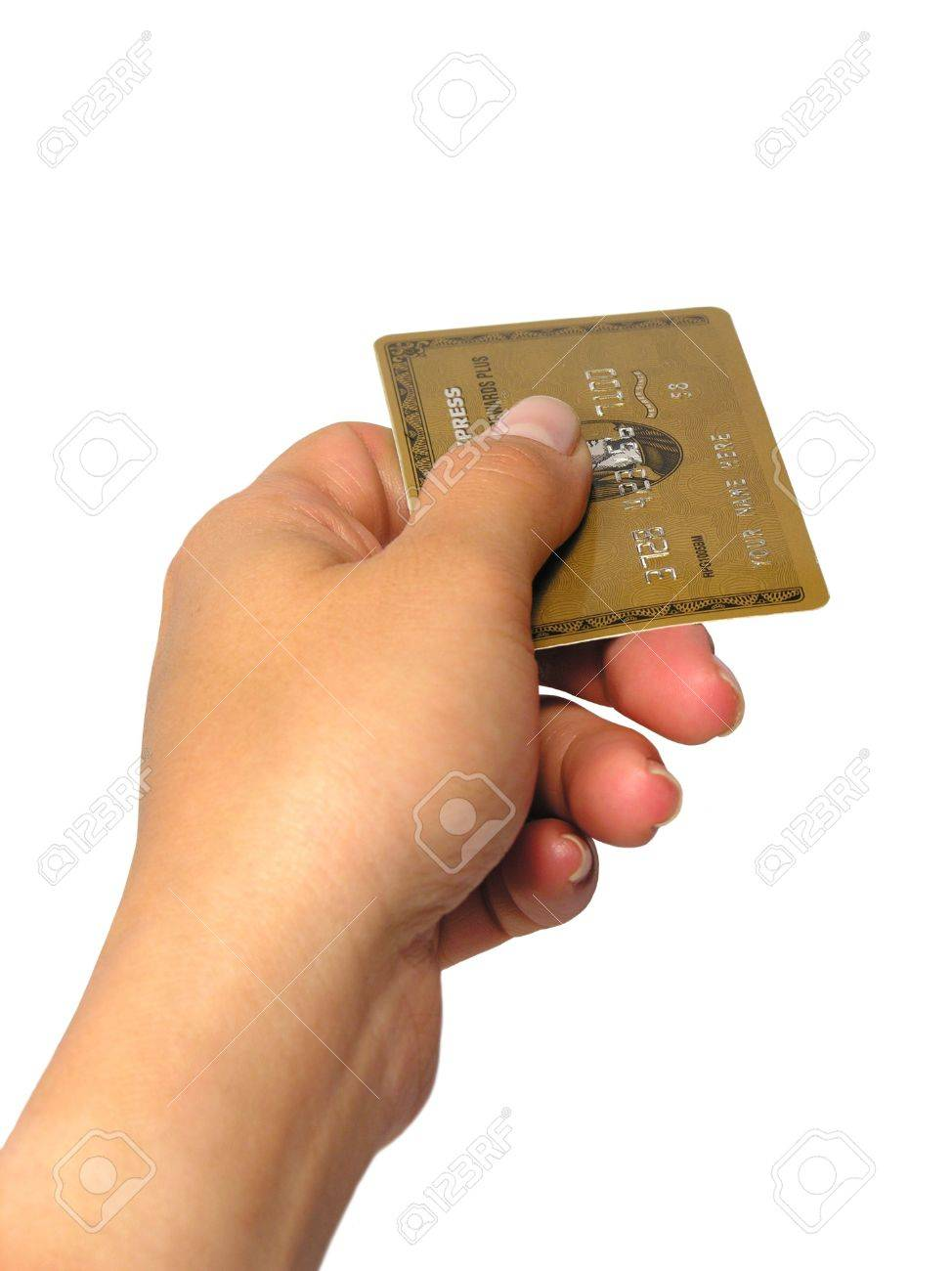 A woman handing a credit card (fake card with invalid number) Stock Photo - 477330