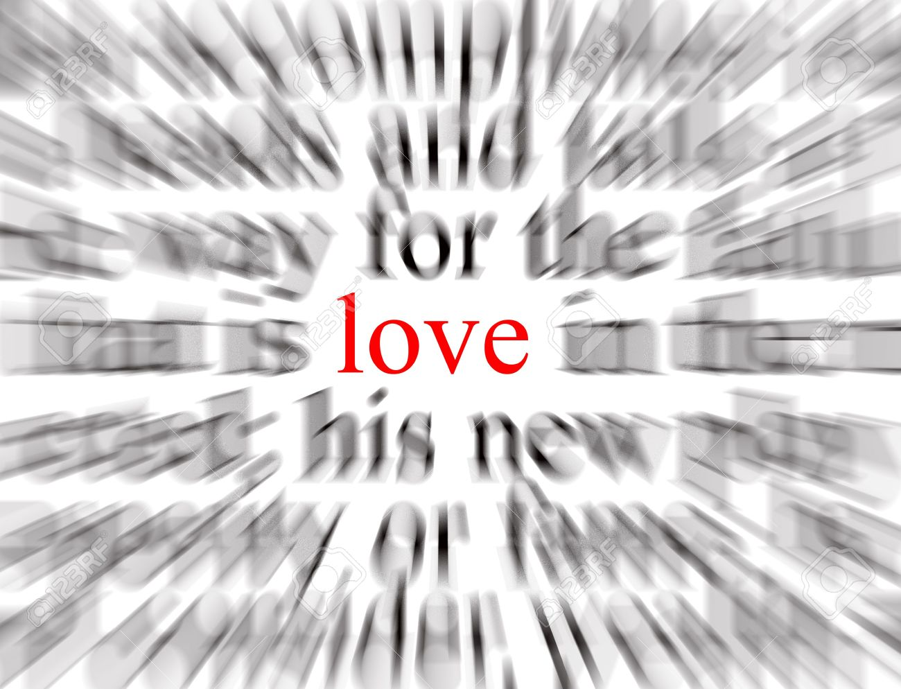 Blurred text with a focus on love Stock Photo - 496358