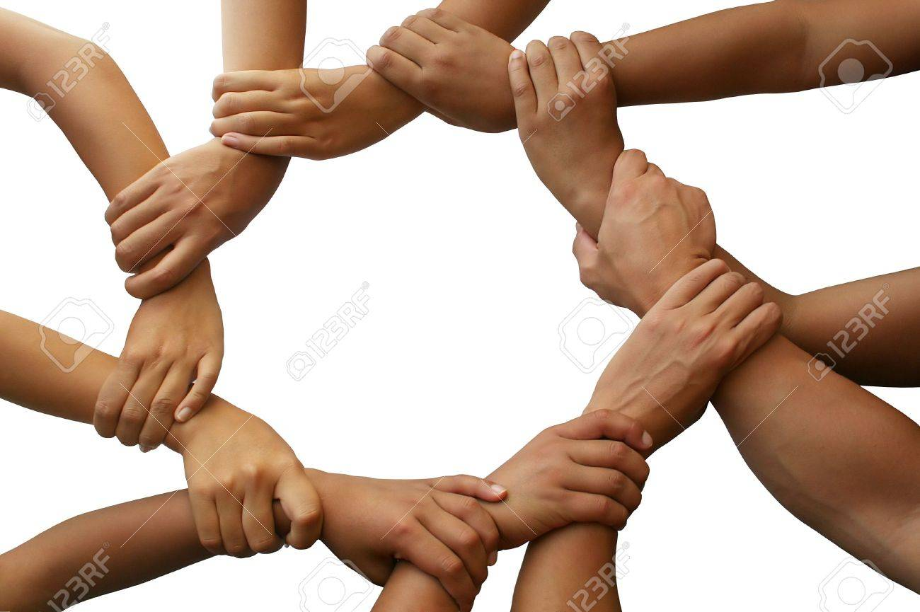 ring of hands giving a teamwork theme stock photo picture and