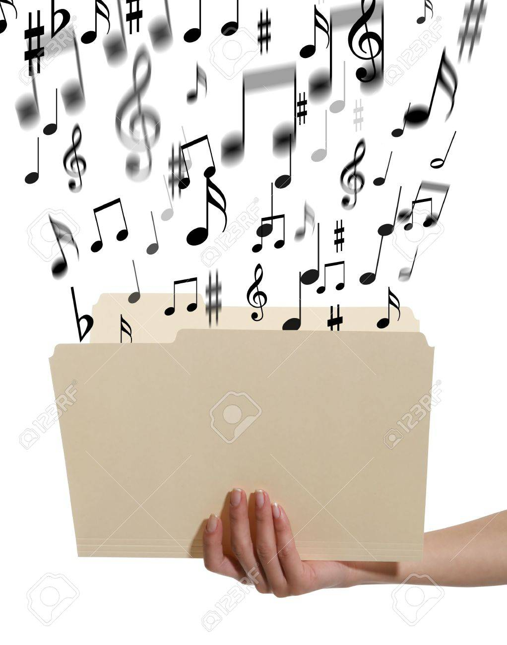 A woman holding an open manilla folder with music notes coming out Stock Photo - 724942