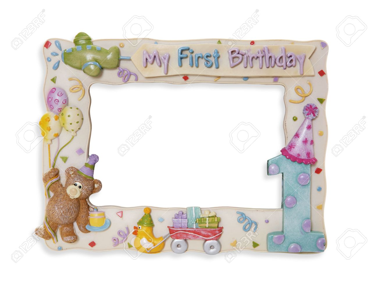 A Colorful First Birthday Picture Frame Over White Stock Photo ...