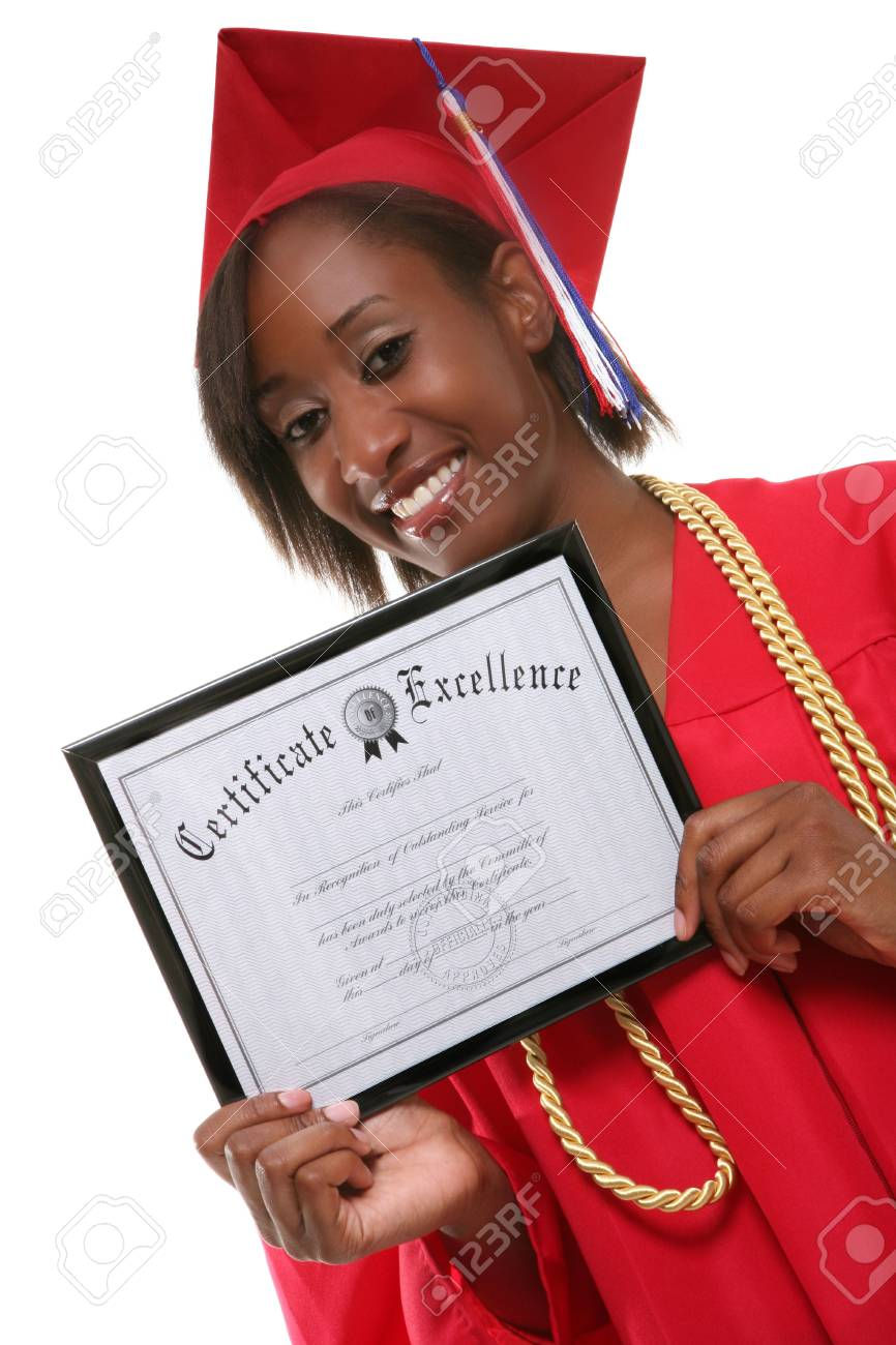 A pretty woman holding her certificate at graduation Stock Photo - 1290967