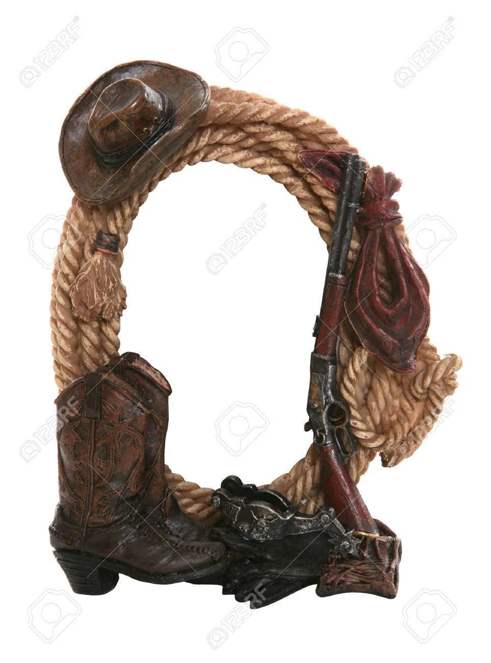 Ein Cowboy-themed Bilderrahmen Hintrgrund Isoliert Weiß Lizenzfreie ...