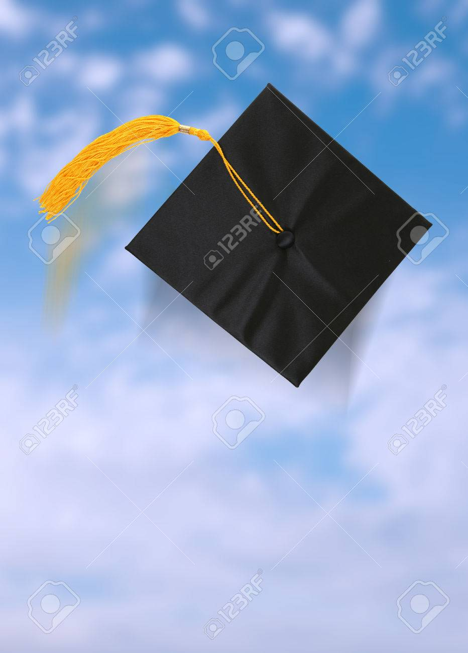 A graduation cap after being thrown into the blue sky Stock Photo - 1497576