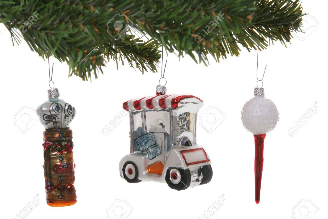 Colorful Golf Christmas Ornaments Over A White Background Stock ...