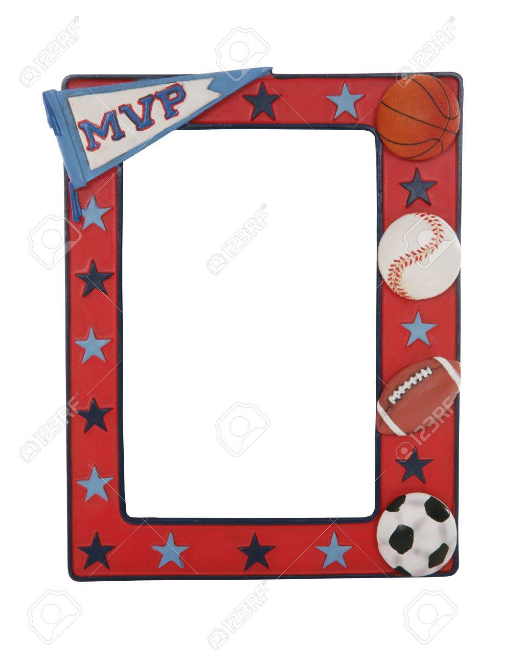 A Sports Picture Frame With Baseball, Football, Basketball, And ...